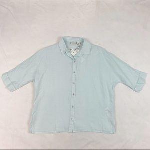 Rachel Zoe button up linen shirt short sleeve